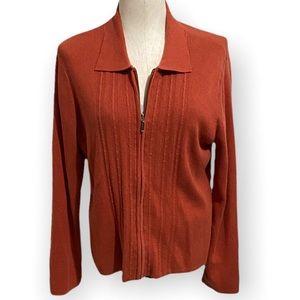 🧡 Cozy Petite CROFT & BARROW Orange Zip Up Jacket